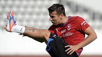 Milan Baroš na tréninku fotbalové reprezentace