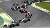 Piloti formule 1 během Velké ceny Brazílie.