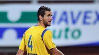 Vyloučený Michael Lüftner z Teplic v utkání v Mladé Boleslavi.