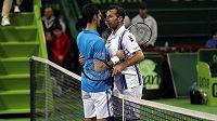 Novak Djokovič a Radek Štěpánek na turnaji v Dauhá.