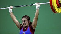 Thajská vzpěračka Sopita Tanasanová, olympijská vítězka v kategorii do 48 kg.