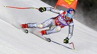 Ester Ledecká v akci ve Svatém Antonu během závodu Světového poháru superobřího slalomu.