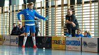 Kapitánka Eliška Krupnová a trenér Saschy Rhyner při tréninku spřádají plány na čtvrtfinále proti Švýcarsku.