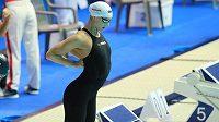 Česká znakařka Simona Kubová před startem semifinále MS na 50 m.