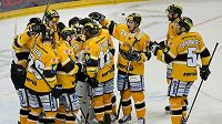 Hráči Litvínova se radují z vítězství na ledě Slavie.