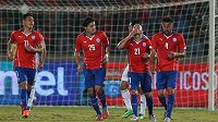 Diaz (21) z týmu Chile oslavuje svou branku v přátelském utkání s Egyptem.