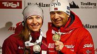 Úspěšní biatlonoví manželé Darja Domračevová a Ole Einar Björndalen.