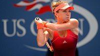 Rumunská tenistka Simona Halepová na tenisovém US Open při zápase s Ukrajinkou Katerynou Bondarenkovou.