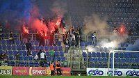 Fanoušci Slovácka v utkání s Olomoucí.