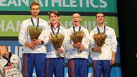 Šťastní čeští bronzoví medailisté: zleva Josef Prorok, Daniel Němeček, Pavel Maslák a Petr Lichý.