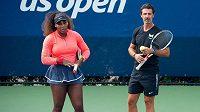 Serena Williamsová a trenér Patrick Mouratoglou.