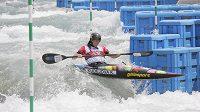 Kateřina Kudějová na trati kvalifikace mistrovství světa v Riu.