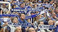 Fanoušci Komety během zápasu s Mladou Boleslaví.