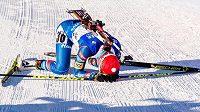 Vyčerpaná Veronika Vítková v cíli sprintu v Anterselvě.