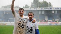 Tomáš Janů (vpravo) a Zbyněk Hauzr se loučí s fanoušky Liberce.
