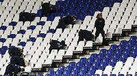 Policie prohlíží stadión v Hannoveru. Zápas Německa s Nizozemskem byl nakonec zrušen.
