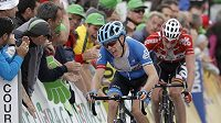 Andrew Talansky z týmu Garmin a jeho cílová grimasa v 66. ročníku závodu Critérium du Dauphiné. Američan v poslední etapě vybojoval celkové prvenství na úkor Alberta Contadora z týmu Tinkoff-Saxo.