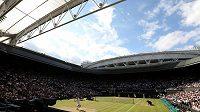 Ze zápasu Tomáš Berdych - Roger Federer.