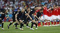 Chorvatší fotbalisté slaví postup do semifinále mistrovství světa po penaltovém vítězství nad Ruskem