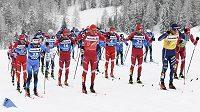 Čelo druhého závodu Tour de Ski ve Val Müstair.