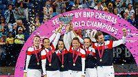 Radost francouzských tenistek po výhře nad Australankami