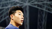 Fotbalista Tottenhamu Hotspur Heung-min Son během přípravy k přátelskému utkání s Juventusem Turín.