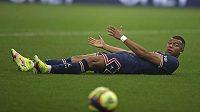 Kylian Mbappé z PSG v utkání francouzské ligy proti Marseille.