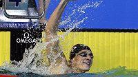 Američan Ryan Lochte se raduje ze zisku zlaté medaile.