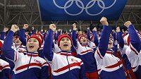 Severokorejské roztleskávačky navštívily utkání v ledním hokeji Korea-ČR.