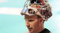 Florbalový brankář David Rytych a jeho maska na mistrovství světa