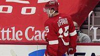 Vítězný gól Detroitu Red Wings oslavuje jeho střelec - útočník Jakub Vrána.