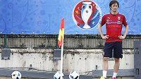 Tomáš Rosický na tréninku české fotbalové reprezentace