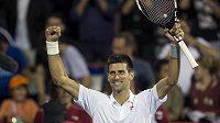 Srb Novak Djokovič se raduje z výhry nad Lotyšem Ernestem Gulbisem na turnaji v Montrealu.