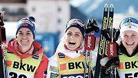 První tři ženy závodu na 10 km na SP v Davosu