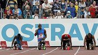 Usain Bolt (uprostřed) na Zlaté tretře v Ostravě