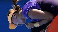 Petra Kvitová se v zápase s Franceskou Schiavoneovou častokrát povzbuzovala.