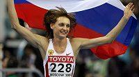 Takhle se ruská dálkařka Taťjana Kotovová radovala před sedmi lety ze zisku zlaté medaile na halovém MS v Moskvě. Nyní, po dopingové aféře, možná o titul přijde.