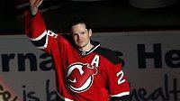Patrik Eliáš z New Jersey po zápase s Buffalem, proti nemuž dosáhl na hranici 1000 bodů v NHL.