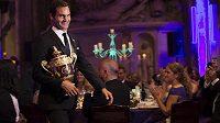 Roger Federer na večírku wimbledonských šampiónů v Guildhall.