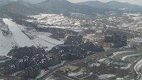 Horské středisko Alpensia, kde se bude bopjovat o olympijské medaile v alpském i severském lyžování,biatlonu, bobech, skeletonu a jízdě na saních.