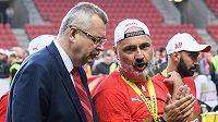 Trenér Slavie Praha Jindřich Trpišovský a Jaroslav Tvrdík po utkání se Spartu ve skupině o titul v rámci nadstavby Fortuna ligy.