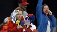 Martina Sáblíková se raduje z překonání světového rekordu na 3000 m v Salt Lake City,