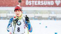 Veronika Vítková na trati stíhacího závodu v Östersundu.