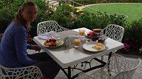 Petra Kvitová na snídani, ke které si dává ovoce.