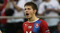 Střelec druhého gólu proti Řekům Václav Pilař se raduje z vítězství
