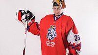 Český hokejový brankář David Rittich v novém reprezentačním dresu.