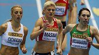 Lenka Masná mezi stříbrnou Polkou Angelikou Cichockou a bronzovou Běloruskou Marinou Arazamasovovou.