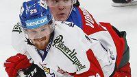 David Kaše během sobotního utkání české hokejové reprezentace s Ruskem.