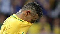Zklamaný kapitán Brazílie po remíze s Irákem.