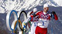 Norský běžec na lyžích Martin Johnsrud Sundby na olympiádě v Soči.